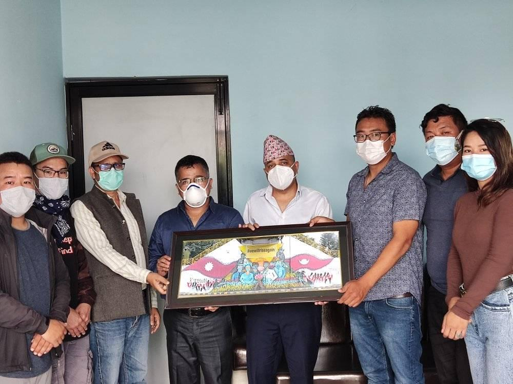 Art by Mr. DUJANG SHERPA and his team as tribute for the frontliners handover to Nepal Medical Association. Thank you Mr. DUJANG SHERPA for this innovative art. NMA highly appreciate in your innovative work.